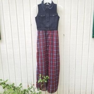 Nasty Gal Shown To Scale Denim Plaid Snap Dress S